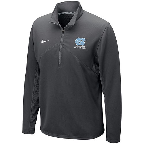 Men's Nike Anthracite North Carolina Tar Heels Logo and Mascot Name Training Quarter-Zip Performance Jacket