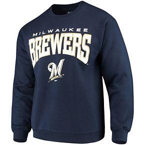 Men's Stitches Navy Milwaukee Brewers Pullover Crew Sweatshirt