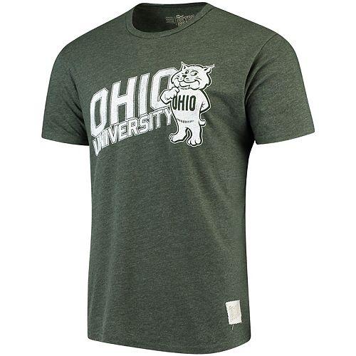 Men's Original Retro Brand Heathered Green Ohio Bobcats Tri-Blend T-Shirt