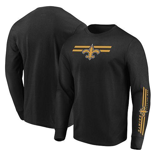 Men's Majestic Black New Orleans Saints Big & Tall Dual Threat Long Sleeve T-Shirt