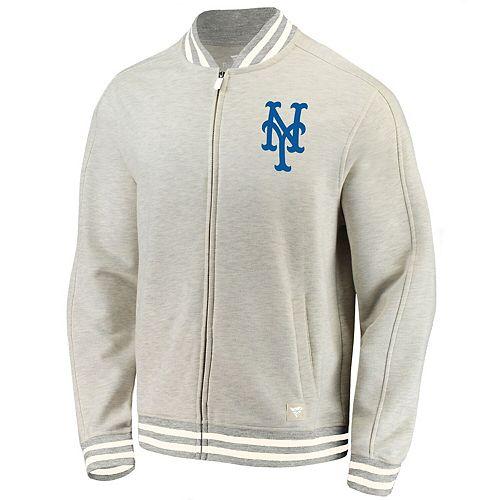 Men's Fanatics Branded Cream New York Mets Heritage Primary Full-Zip Track Jacket