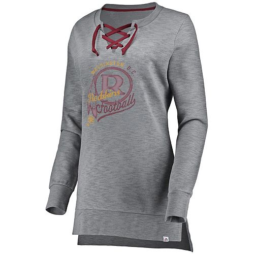 Women's Majestic Heathered Gray Washington Redskins Historic Hyper Lace-Up Tunic Sweatshirt