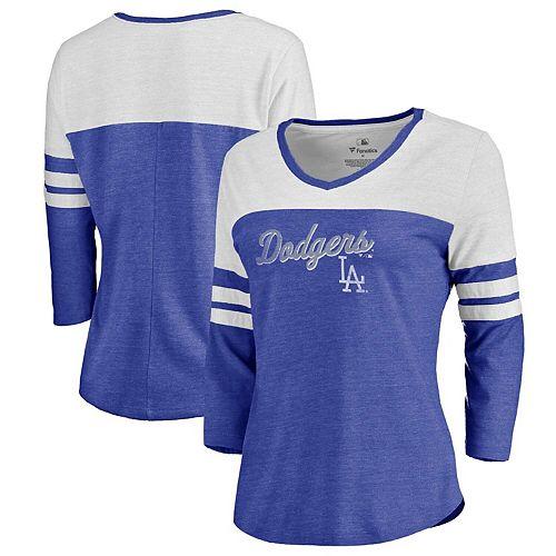 Women's Fanatics Branded Heathered Royal/White Los Angeles Dodgers Rising Script Tri-Blend Raglan V-Neck 3/4-Sleeve T-Shirt