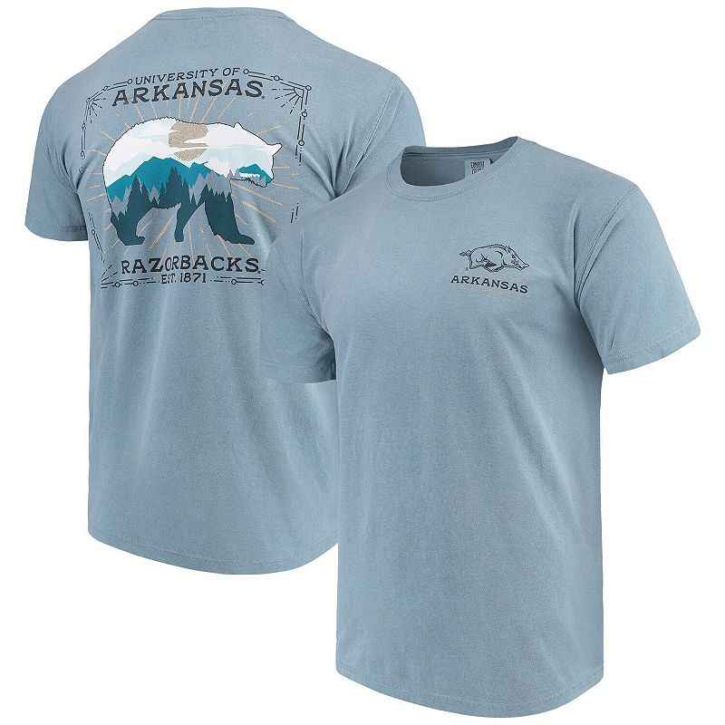 Men's Blue Arkansas Razorbacks State Scenery Comfort Colors T-Shirt. Size: Small