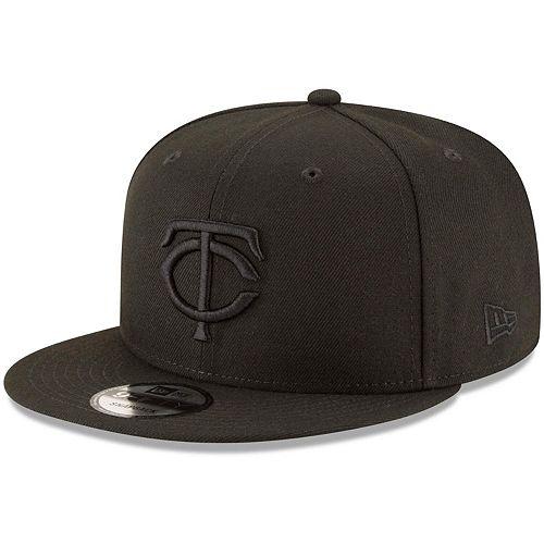 Minnesota Twins New Era Black on Black 9FIFTY Team Snapback Adjustable Hat - Black