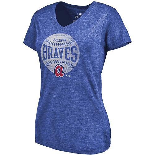 Women's Fanatics Branded Heathered Royal Atlanta Braves Slider Tri-Blend V-Neck T-Shirt
