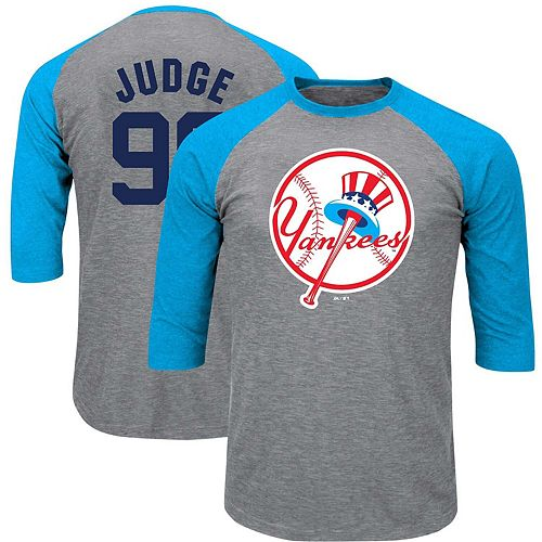 Men's Majestic Aaron Judge Heathered Gray/Light Blue New York Yankees Big & Tall Player Raglan 3/4-Sleeve T-Shirt