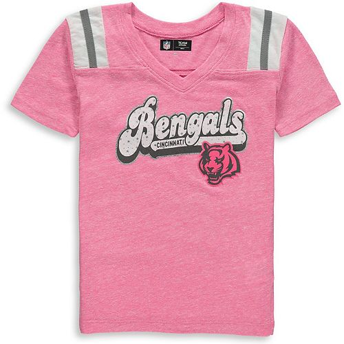 Girls Youth New Era Pink Cincinnati Bengals Star of the Game Tri-Blend T-Shirt