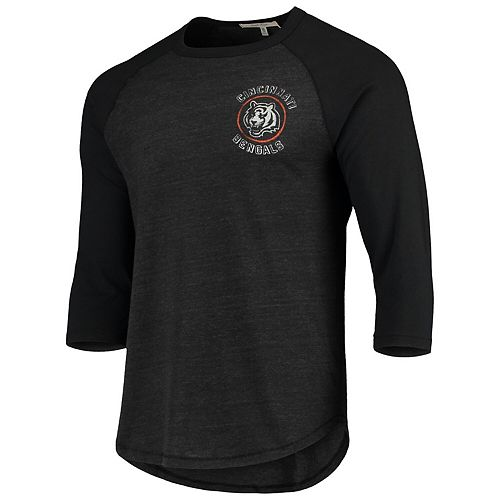 Men's Junk Food Heathered Black/Black Cincinnati Bengals Contrast 3/4-Sleeve Raglan Tri-Blend T-Shirt