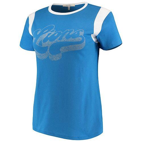 Women's Junk Food Blue/White Detroit Lions Retro Sport T-Shirt