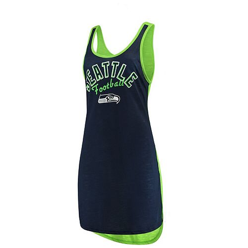 Women's G-III 4Her by Carl Banks College Navy/Neon Green Seattle Seahawks Making Waves Fair Ball Cover Up