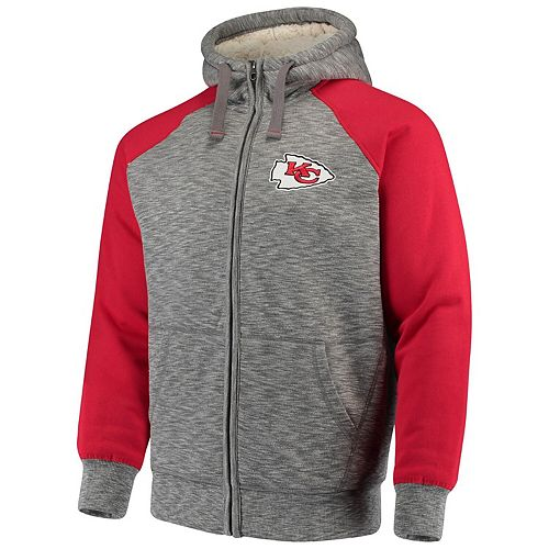 Men's G-III Sports by Carl Banks Heathered Gray/Red Kansas City Chiefs Turning Point Sherpa Lined Full-Zip Jacket