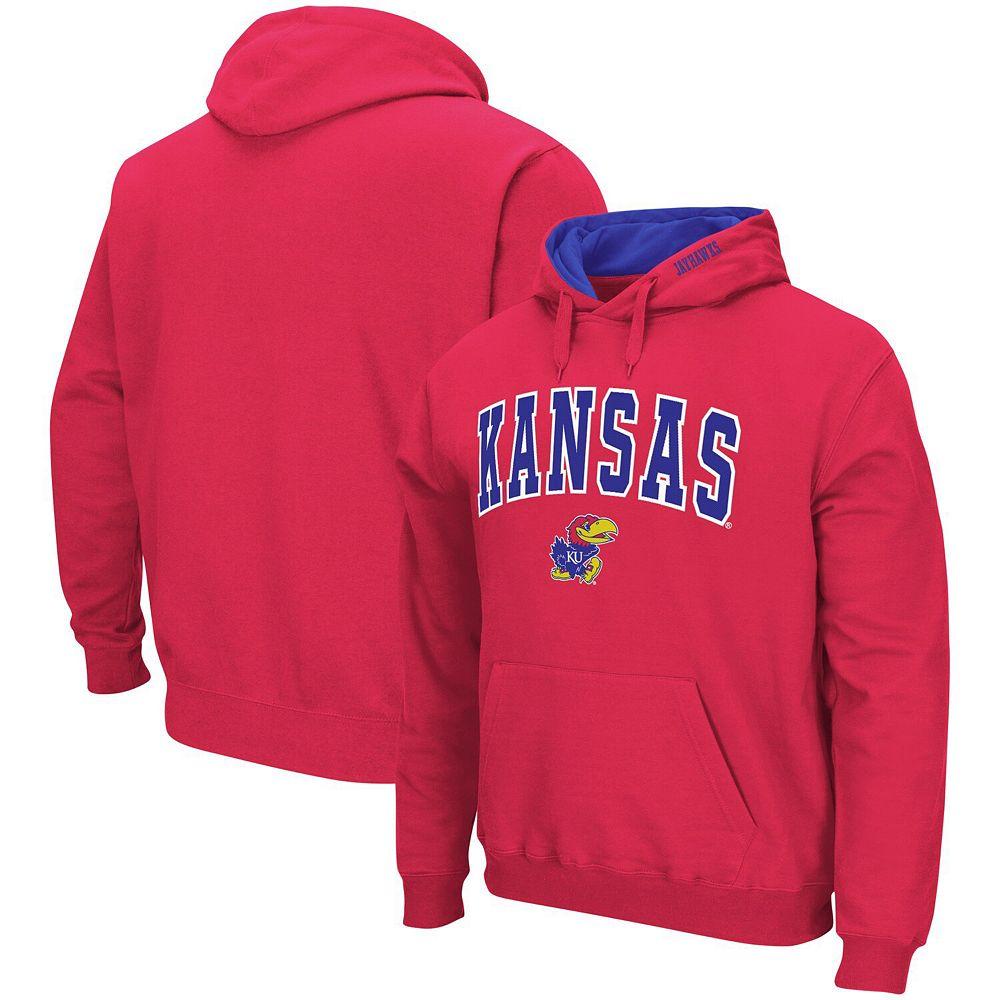 Men's Colosseum Red Kansas Jayhawks Arch & Logo Pullover Hoodie