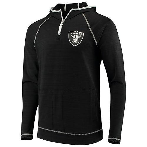 Men's Hands High Black Oakland Raiders Interval Space Dye Raglan Sleeve Quarter-Zip Pullover Hoodie