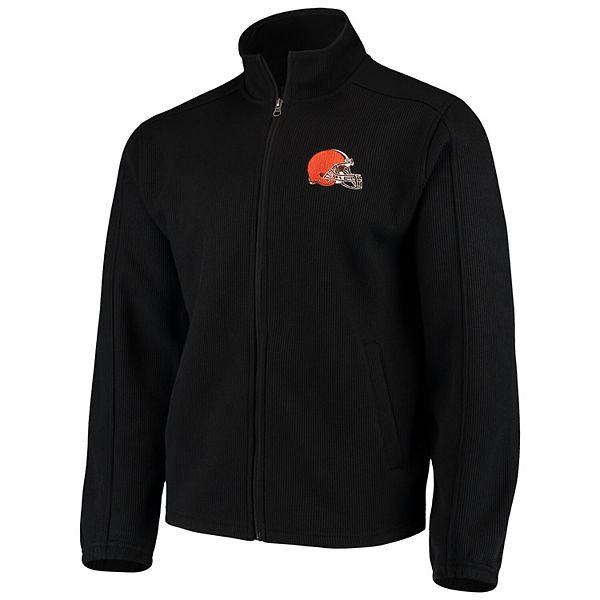 Men's G-III Sports by Carl Banks Black Cleveland Browns QR Audible Full-Zip Fleece Jacket