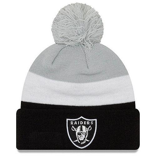 Men's New Era Gray/Black Oakland Raiders Triblock Cuffed Knit Hat with Pom