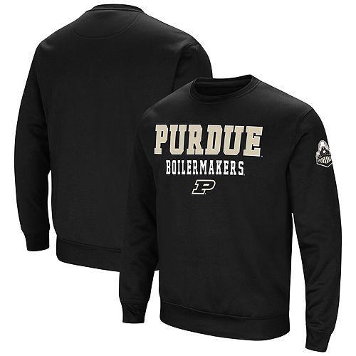 Men's Colosseum Black Purdue Boilermakers Stacked Performance Pullover Sweatshirt