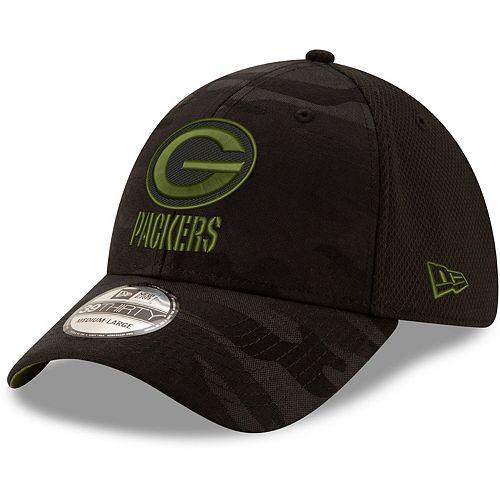 Men's New Era Black Green Bay Packers Camo Royale 39THIRTY Flex Hat