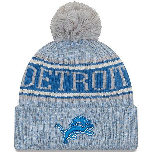 Men's New Era Gray Detroit Lions 2018 NFL Sideline Cold Weather Reverse Sport Knit Hat