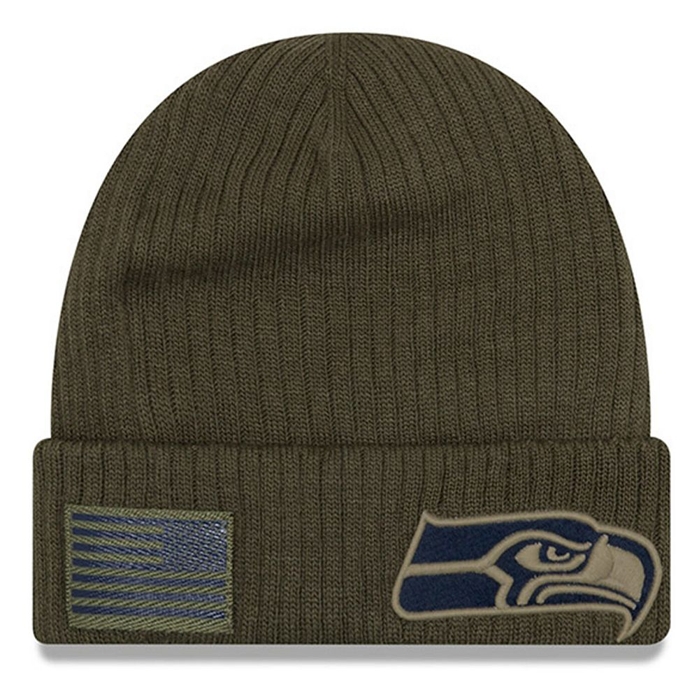 Youth New Era Olive Seattle Seahawks 2018 Salute to Service Sideline Cuffed Knit Hat