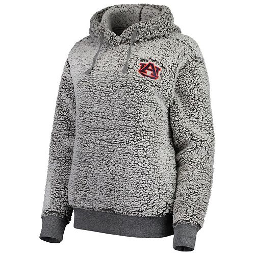 Women's Heathered Gray Auburn Tigers Sherpa Inside & Out Pullover Hoodie
