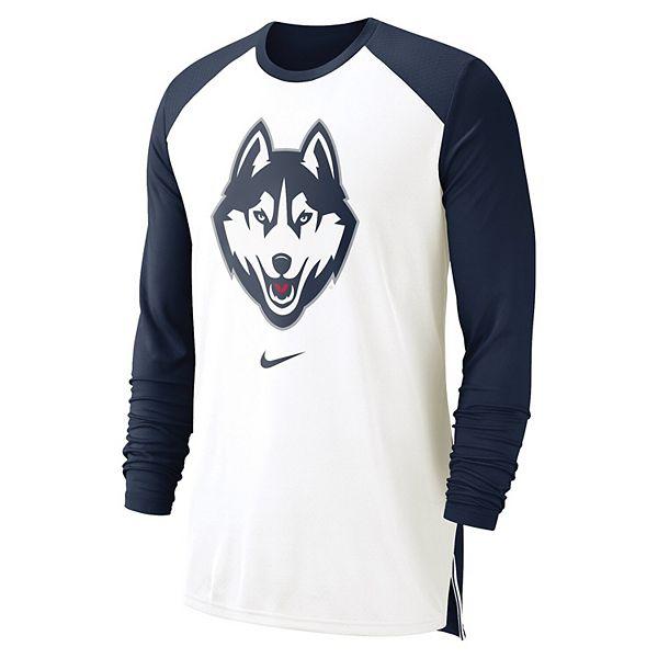 Men's Nike White UConn Huskies On-Court Basketball Elite Performance Long Sleeve T-Shirt