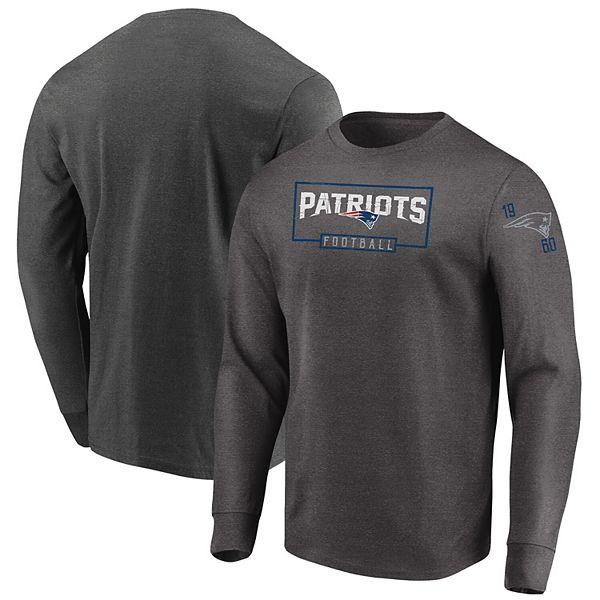 Men's Majestic Heathered Charcoal New England Patriots Big & Tall Kick Return Long Sleeve T-Shirt