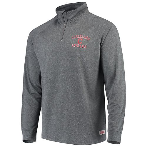 Men's Stitches Heathered Charcoal Cleveland Indians Team Raglan Quarter-Zip Pullover Jacket