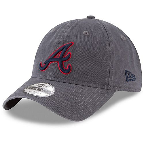 Men's New Era Graphite Atlanta Braves Primary Logo Core Classic 9TWENTY Adjustable Hat