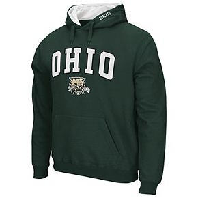 Men's Colosseum Green Ohio Bobcats Arch & Logo Tackle Twill Pullover Hoodie