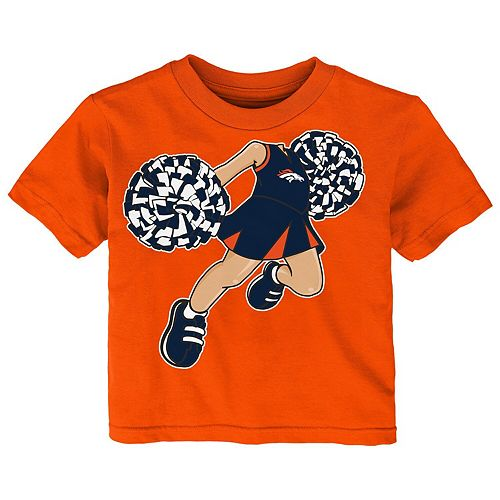 Girls Infant Orange Denver Broncos Pom Pom Cheer T-Shirt