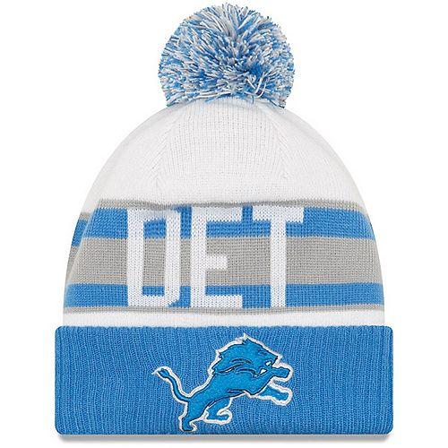 Men's New Era White/Blue Detroit Lions Retro Cuffed Knit Hat With Pom