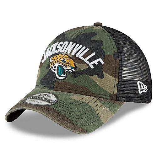 Men's New Era Camo Jacksonville Jaguars Woodland Camo Rugged Stack 9TWENTY Adjustable Hat