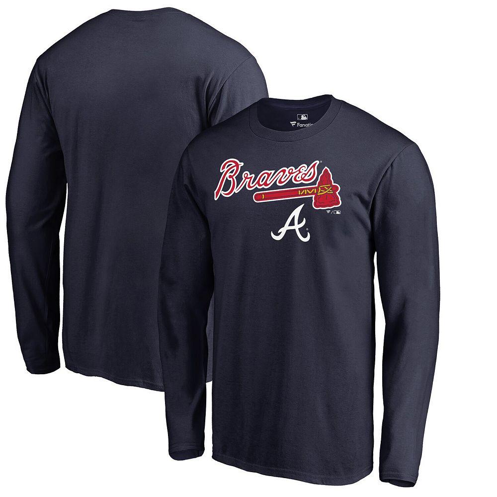 Men's Fanatics Branded Navy Atlanta Braves Arch Team Lockup Long Sleeve T-Shirt