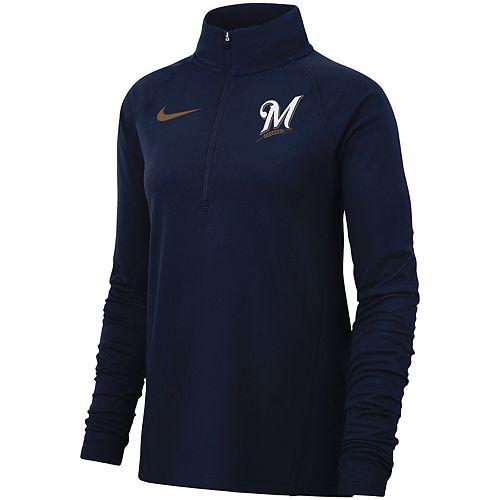 Women's Nike Navy Milwaukee Brewers Team Core Half-Zip Raglan Pullover Jacket