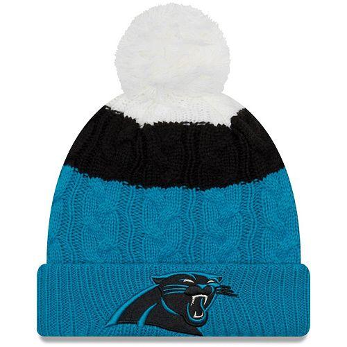 Girls Youth New Era White/Blue Carolina Panthers Layered Up Cuffed Knit Hat With Pom