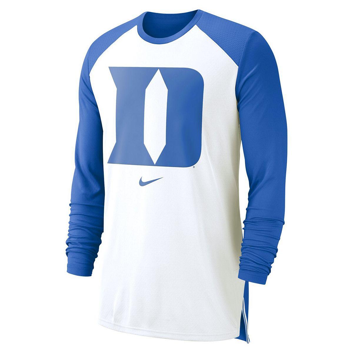 Men's Nike White Duke Blue Devils On-Court Basketball Elite Performance Long Sleeve T-Shirt Gewab