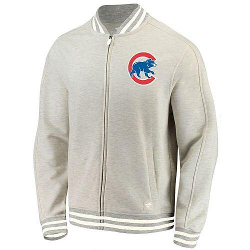 Men's Fanatics Branded Cream Chicago Cubs Heritage Primary Full-Zip Track Jacket
