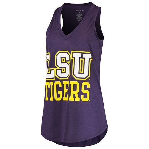 Women's Purple LSU Tigers 2-Hit At Ease V-Neck Tank Top