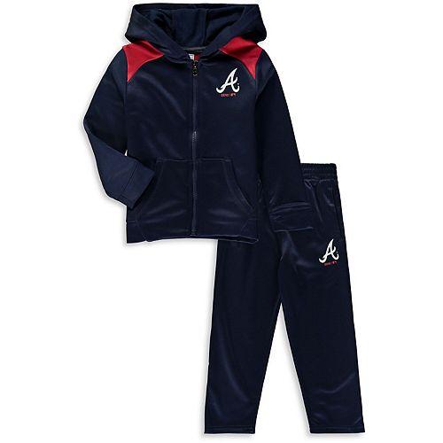 Toddler Majestic Navy Atlanta Braves Play Action Full-Zip Hoodie & Pants Set