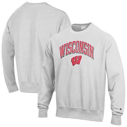 Men's Champion Gray Wisconsin Badgers Arch Over Logo Reverse Weave Pullover Sweatshirt