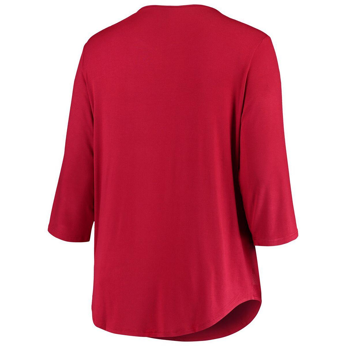 Women's Crimson Alabama Crimson Tide Plus Size Plaid 3/4-Sleeve V-Neck Shirt UOJ0Z