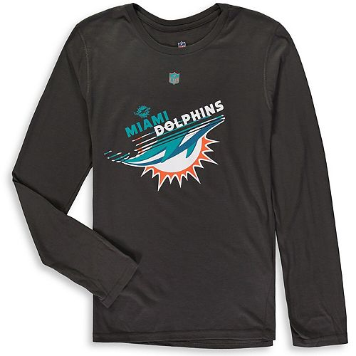 Youth Charcoal Miami Dolphins Flux Ultra Long Sleeve T-Shirt