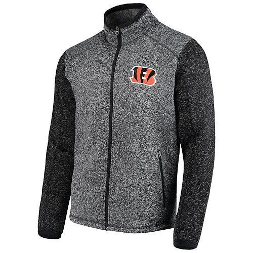 Men's G-III Sports by Carl Banks Heathered Charcoal Cincinnati Bengals Alpine Zone Sweater Fleece Full-Zip Jacket