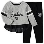 Girls Toddler Gray/Black Oakland Raiders Mini Formation Set