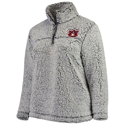 Women's Heathered Gray Auburn Tigers Plus Size Sherpa Quarter-Zip Pullover Jacket