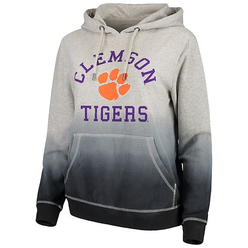 Women's Heathered Charcoal Clemson Tigers High Tide Dip-Dyed Pullover Hoodie