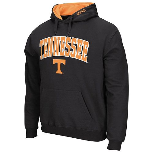 Men's Colosseum Charcoal Tennessee Volunteers Arch & Logo Tackle Twill Pullover Hoodie