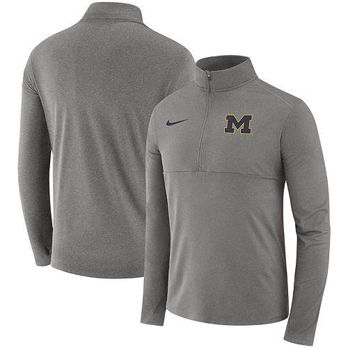 Men's Nike Heathered Gray Michigan Wolverines Core Half-Zip Pullover Jacket