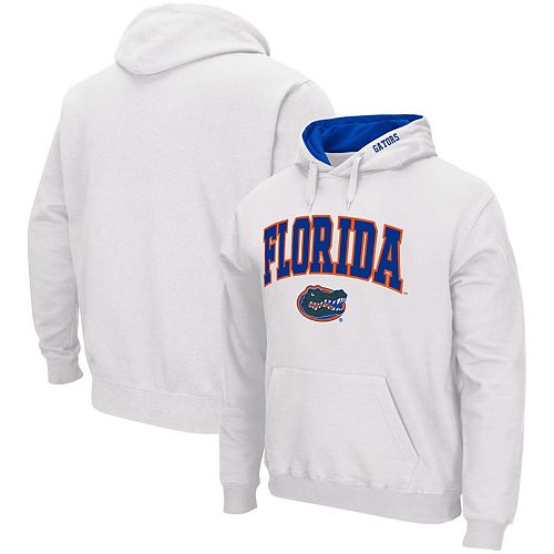Men's Colosseum White Florida Gators Arch & Logo Pullover Hoodie